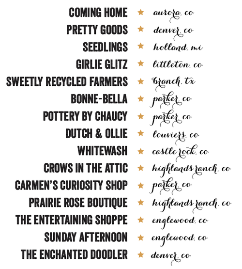 2013 Mercantile Vendor list