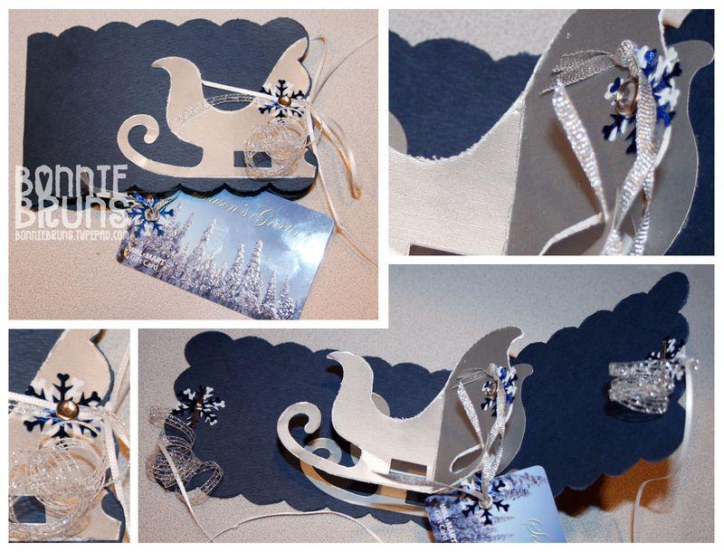 Blue Sleigh Pop Up Card
