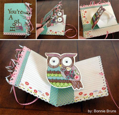 Owl Card using spinning platform die.
