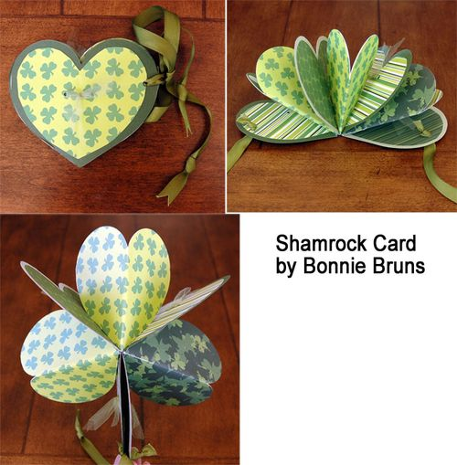 Shamrock Card using heart pop up die.